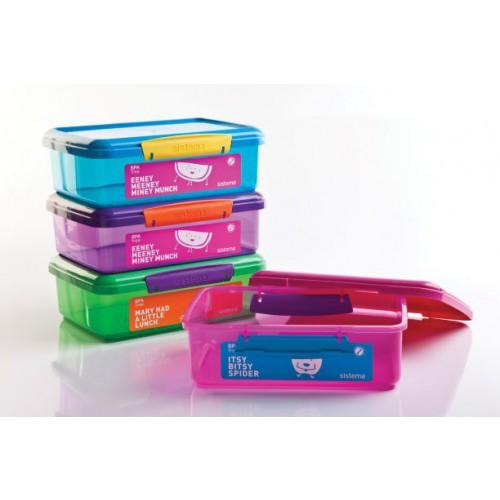 לאנצ'- קופסת אחסון מלבנית 2 ליטר לארוחה ל-2- מעורב צבעוני