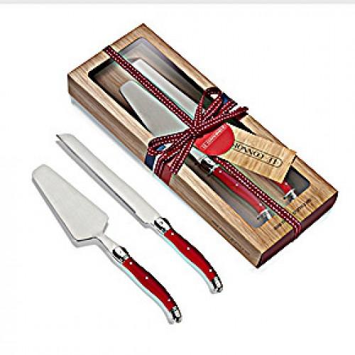 סט הגשה לעוגה – סכין +כף פריסה עם ידית אדומה