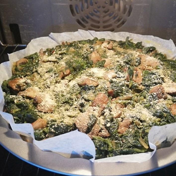 פשטידת חומוס, תרד ופטריות